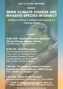 Event agenda with a native Hawaiian honeycreeper bird perched on branch in background.