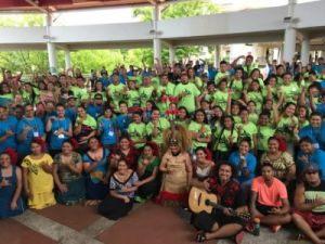 Many conference attendees gathered for group photo at UH Hilo Campus Center.