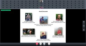 Screen shot of online webinar showing slide with panel participants