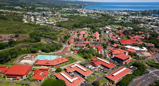 Aerial view of UH Hilo with red roofs and Hilo bay in the background.