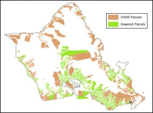 Graphic showing where sewers versus on-site disposal systems are located
