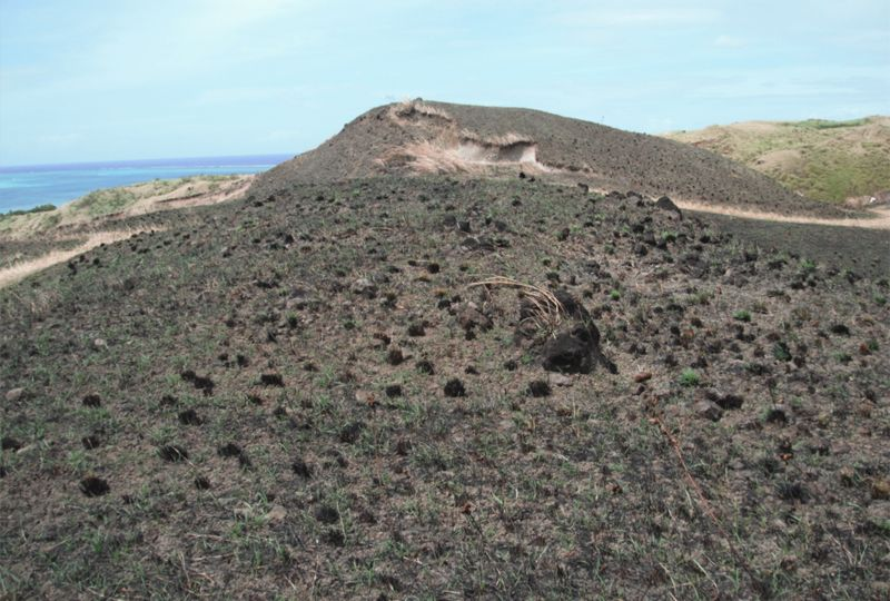 Hilly barren landscape with low burnt browned grass