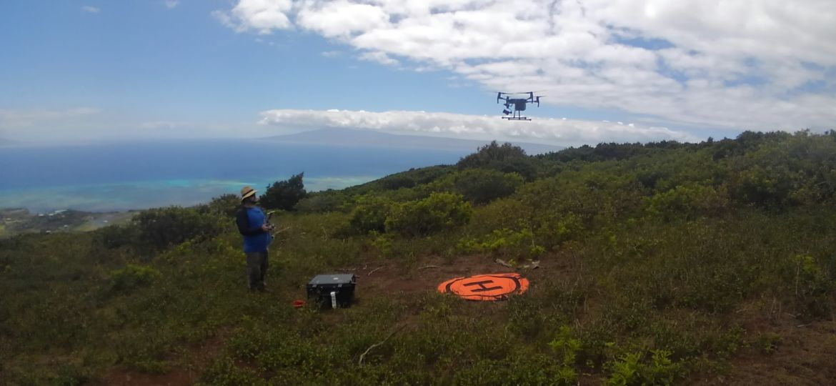 Student controls a drone that has lifted off from an orange landing spot in a scrubby landscape.