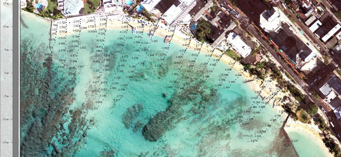 Aerial view of one section of beach and near offshore, with numbers superimposed showing depths along traverses perpendicular to the coastline