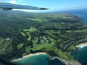 Aerial view of west Maui coastline
