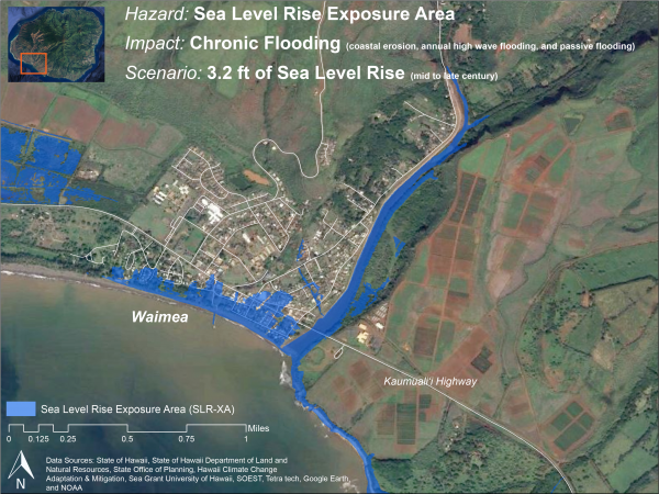 Map of Waimea area with superimposed color illustrating flooded areas at 3.2 feet of sea level rise