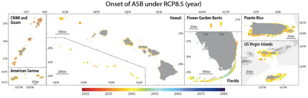 Color-coded maps of several global coral locales illustrating a range of predicted years of onset for annual severe bleaching, mosly from 2035 to 2050.