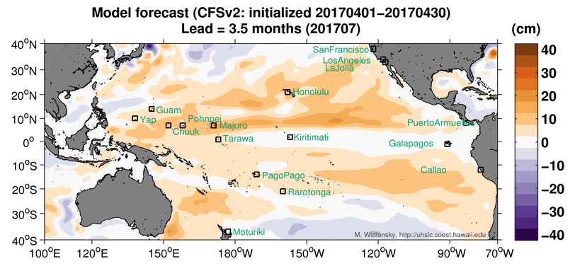 A map of the Pacific basin bears colored swaths showing areas of higher than normal sea levels north and south of the equator in July 2017.