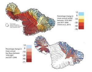 Colored maps of Maui showing patterns of areas that may experience changes in mean annual rainfall (from 12% increases to 76% decreases) and the accompanying changes to stream flows.