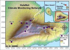 Map of the HaleNet Climate monitoring network located on Maui, HI.