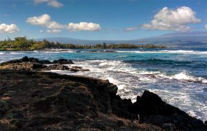 A scenic view from a rocky shore across choppy waves to a tree-lined shore on the opposite side of the bay.