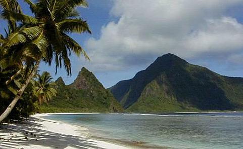 A scenic tropical beach in American Samoa