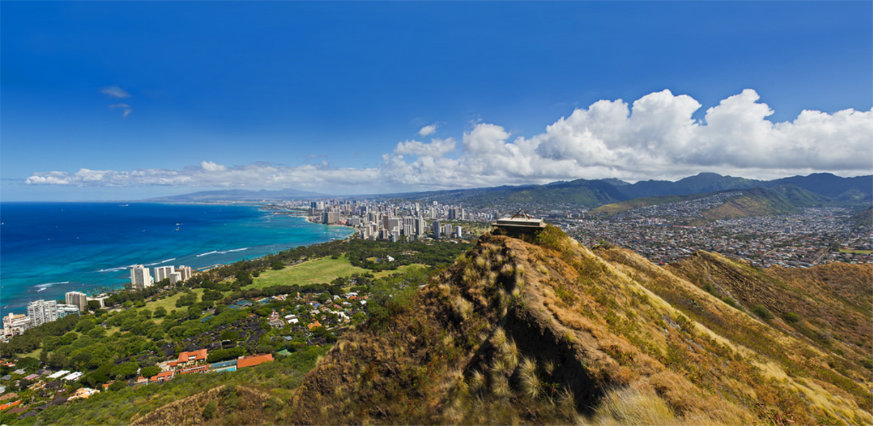 A view from the top of Diamondhead crater shows landscapes from coastal to mountainous.