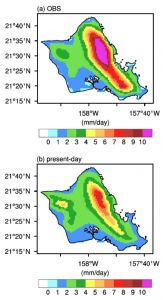 Color-coded maps illustrate match of modelling results of predicted rainfall to observed.