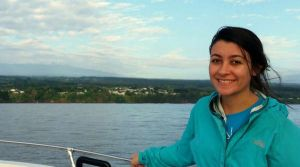 Louise Economy on a boat on Hilo Bay.